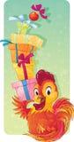 Simbolo sveglio dell'oroscopo cinese - gallo del fuoco con i contenitori di regalo Fotografia Stock Libera da Diritti