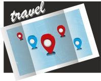 Simbolo, turismo, mappa di viaggio Immagini Stock