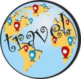 Simbolo, turismo, mappa di viaggio Fotografia Stock Libera da Diritti