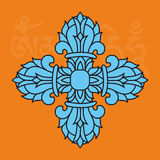 Simbolo, vajra o dorje religioso buddista, attributo maschio, vettore illustrazione di stock