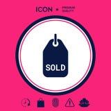 Simbolo venduto dell'etichetta Immagine Stock