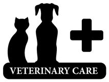 Simbolo veterinario con la siluetta animale dell'animale domestico Immagini Stock Libere da Diritti