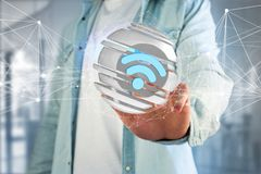 Simbolo visualizzato in una sfera affettata - di Wifi rappresentazione 3d Fotografia Stock