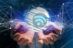Simbolo visualizzato in una sfera affettata - di Wifi rappresentazione 3d Immagini Stock Libere da Diritti