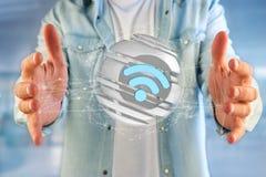 Simbolo visualizzato in una sfera affettata - di Wifi rappresentazione 3d Immagini Stock