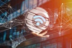 Simbolo visualizzato in una sfera affettata - di Wifi rappresentazione 3d Fotografie Stock Libere da Diritti
