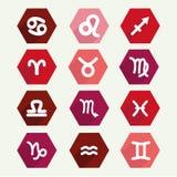 Simbols di astrologia nello stile piano Fotografie Stock Libere da Diritti