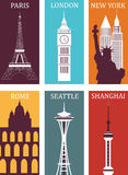 Simbols of famous cities. Royalty Free Stock Photography