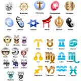 Simbols-Illustration-vector icons. Pack symbols, signs and symbols, religious symbols, zodiac, symbols of planets, mystical signs, symbols, vector, vector Royalty Free Stock Photography