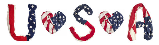 Simbols made from American flag Stock Photos