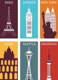 Simbols van beroemde steden. Royalty-vrije Stock Fotografie