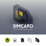 Simcard icon in different style. Simcard color icon, vector symbol in flat, outline and isometric style  on blur background Stock Photo