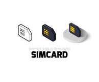 Simcard icon in different style. Simcard icon, vector symbol in flat, outline and isometric style Stock Photography
