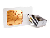 Simcard security protection concept. Sim card with padlock  on white background. 3d rendering illustration Stock Photography