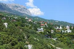 Simeiz settlement and Ai-Petri Mount in Crimea Royalty Free Stock Image