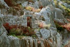 Simena废墟充斥了在海岛上的城市 库存照片