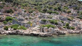 Simena - flooded ancient Lycian city.Kekova island.Ruins of antique architecture Stock Photo
