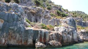 Simena - flooded ancient Lycian city.Kekova island.Ruins of antique architecture stock video