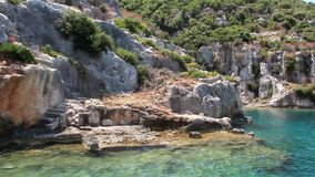 Simena - flooded ancient Lycian city.Kekova island.Ruins of antique architecture stock video footage