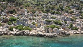 Simena - flooded ancient Lycian city. Kekova island. Ruins of antique architecture stock video footage