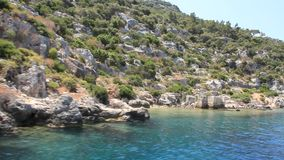 Simena - flooded ancient Lycian city. Kekova island. Ruins of antique architecture stock footage