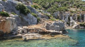 Simena - flooded ancient Lycian city. Kekova island. Ruins of antique architecture stock video