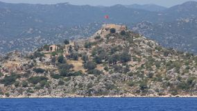 Simena - flooded ancient Lycian city.Kekova island.Ruins of antique architecture stock footage
