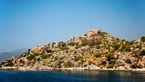 Simena Island with old fort, Kekova Stock Photo