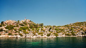 Simena Island with old fort, Kekova Royalty Free Stock Photos