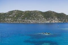 Simena settlement in Uchagiz bay of Turkey near sunken city Royalty Free Stock Photos