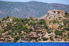 Simena slott nära den Kekova ön i Turkiet royaltyfria foton
