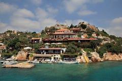 Simena, village de bord de la mer en île de la Turquie de Kekova Images stock