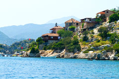 Turkish village on a seaside Stock Images
