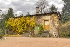 Simeria arboretum park, Romania, Europe. Gyulay castle in Simeria arboretum park, Transylvania, Romania, Europe in a cloudy autumn day Royalty Free Stock Image