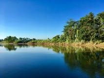 Simetria, árvore do rio e céu fotos de stock