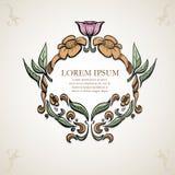 Simetria antiga da flor, cor, quadro antigo, ilustração royalty free
