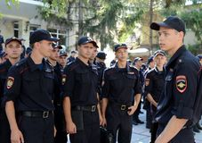 Police cadets of the Krasnodar University of the Ministry of Internal Affairs of Russia. SIMFEROPOL, RUSSIA - SEPTEMBER 16, 2014: Police cadets of the Royalty Free Stock Images