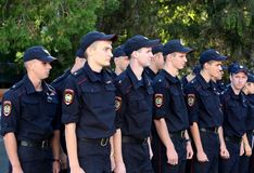 Police cadets of the Krasnodar University of the Ministry of Internal Affairs of Russia. SIMFEROPOL, RUSSIA - SEPTEMBER 16, 2014: Police cadets of the Royalty Free Stock Photography