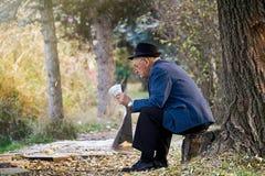 SIMFEROPOL, UCRANIA, noviembre, 12,2009 - caballero mayor con el sombrero que se sienta en el tocón y que lee un periódico en un  Fotografía de archivo libre de regalías