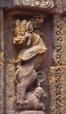Simha-Gaja bij dansplatform, Surya mandir, Konark Decorelement Steen die 13 eeuwadvertentie buigen Stock Foto