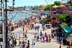 Simhasth maha kumbh, mass Hindu pilgrimage, crowd on the bank of kshipra, Ujjain, India. Mass Hindu Pilgrims gathered for a bath in sacred river kshipra during Stock Image