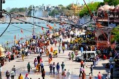 Simhasth maha kumbh, mass Hindu pilgrimage, crowd on the bank of kshipra, Ujjain, India. Mass Hindu Pilgrims gathered for a bath in sacred river kshipra during Royalty Free Stock Photo