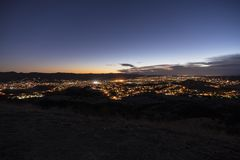 Simi Valley California Dusk Hilltop View royalty free stock photo