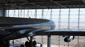 SIMI VALLEY, CALIFORNIA, UNITED STATES - OCT 9, 2014: Air Force One Boeing 707 and Marine 1 on display at the Reagan. SIMI VALLEY, CALIFORNIA, UNITED STATES stock image