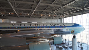 SIMI VALLEY, CALIFORNIA, UNITED STATES - OCT 9, 2014: Air Force One Boeing 707 and Marine 1 on display at the Reagan stock photo