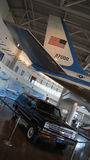 SIMI VALLEY, CALIFORNIA, UNITED STATES - OCT 9, 2014: Air Force One Boeing 707 and Marine 1 on display at the Reagan royalty free stock photography