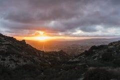 Simi Valley California Winter Clouds-Zonsondergang Stock Afbeelding