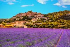Simiane la Rotonde村庄和淡紫色 法国普罗旺斯 库存照片