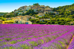 Simiane la Rotonde村庄和淡紫色 法国普罗旺斯 图库摄影