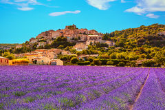 Simiane la Rotonde village and lavender. Provence, France Stock Photos